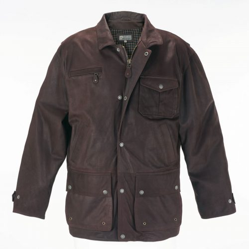 Mens Leather Coat Brown Peter