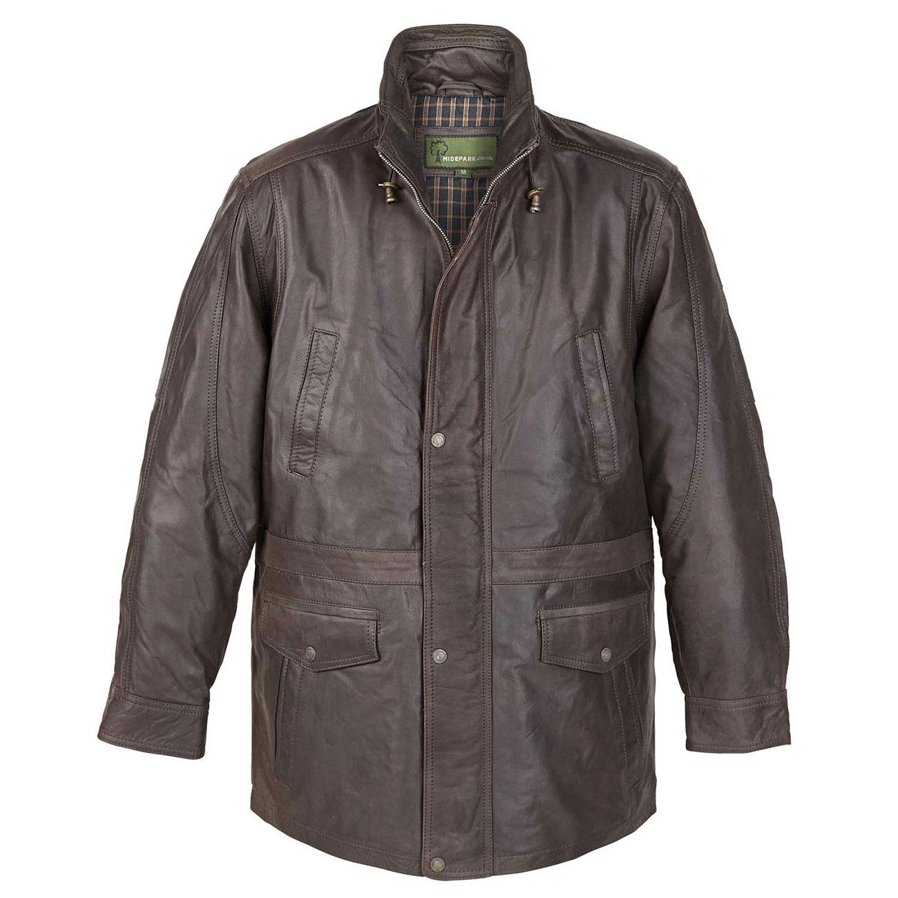 Mens Leather Coat Brown Walker