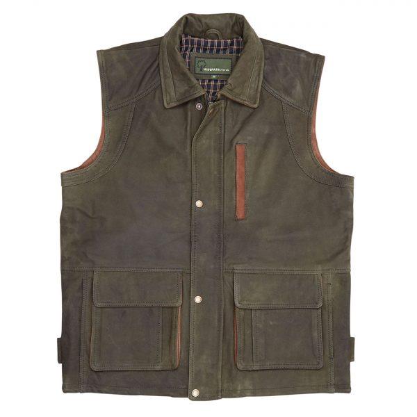 Mens-Leather-Gilet-Green-Dan