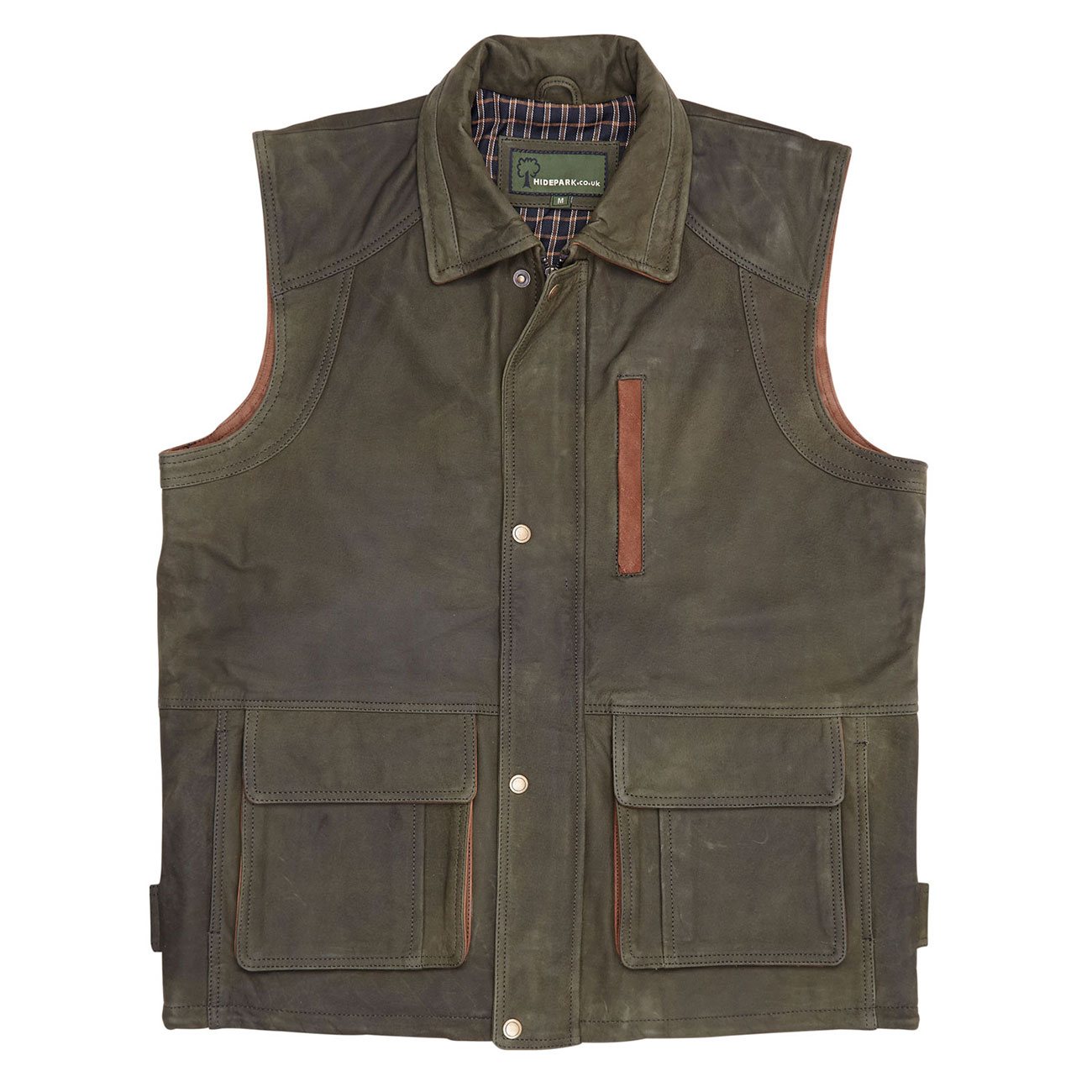 Mens Leather Gilet Green Dan