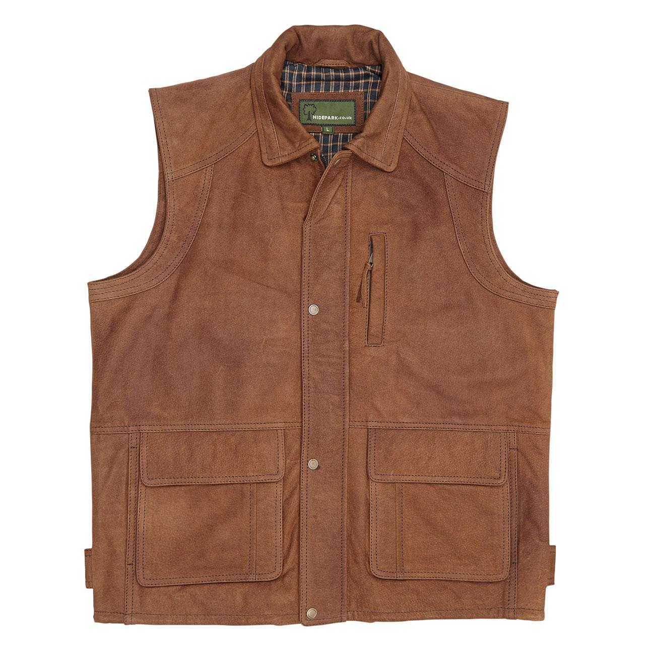 Mens Leather Gilet Tan Dan