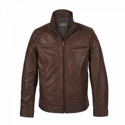Mens Leather Jacket Light Brown Matt