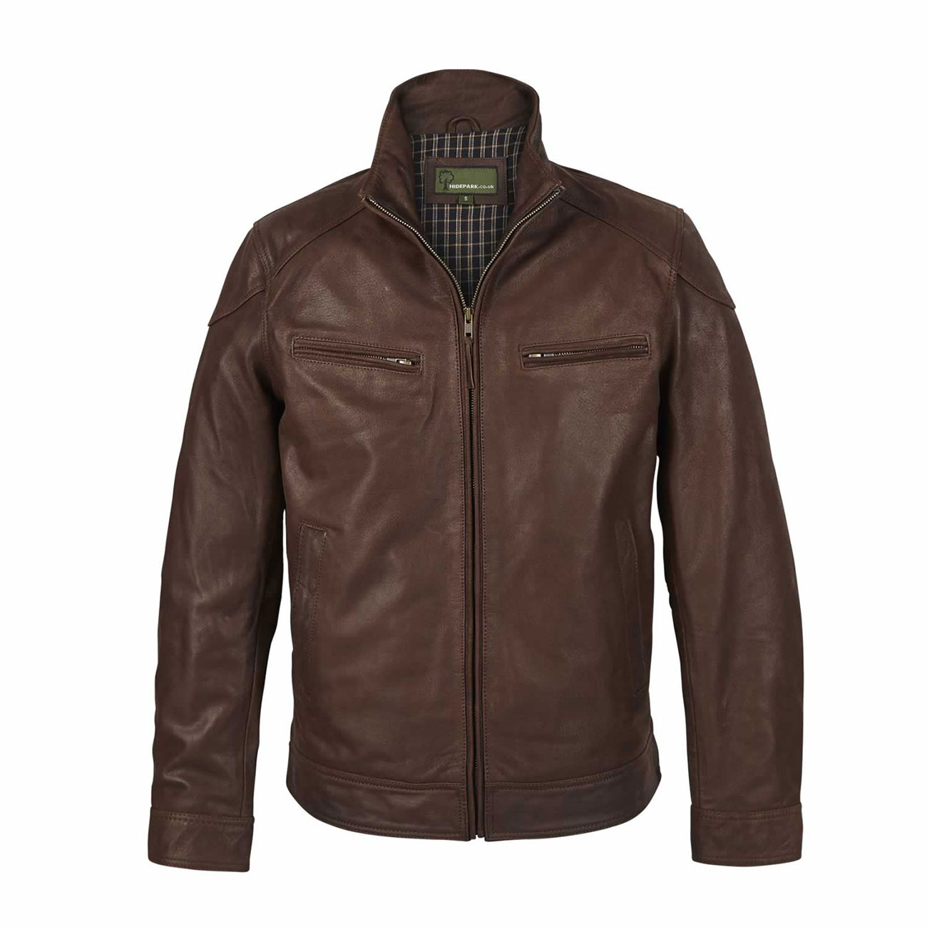 Mens Leather Jacket Light Brown Matt