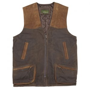 Mens Leather Shooting Vest Brown Thorn