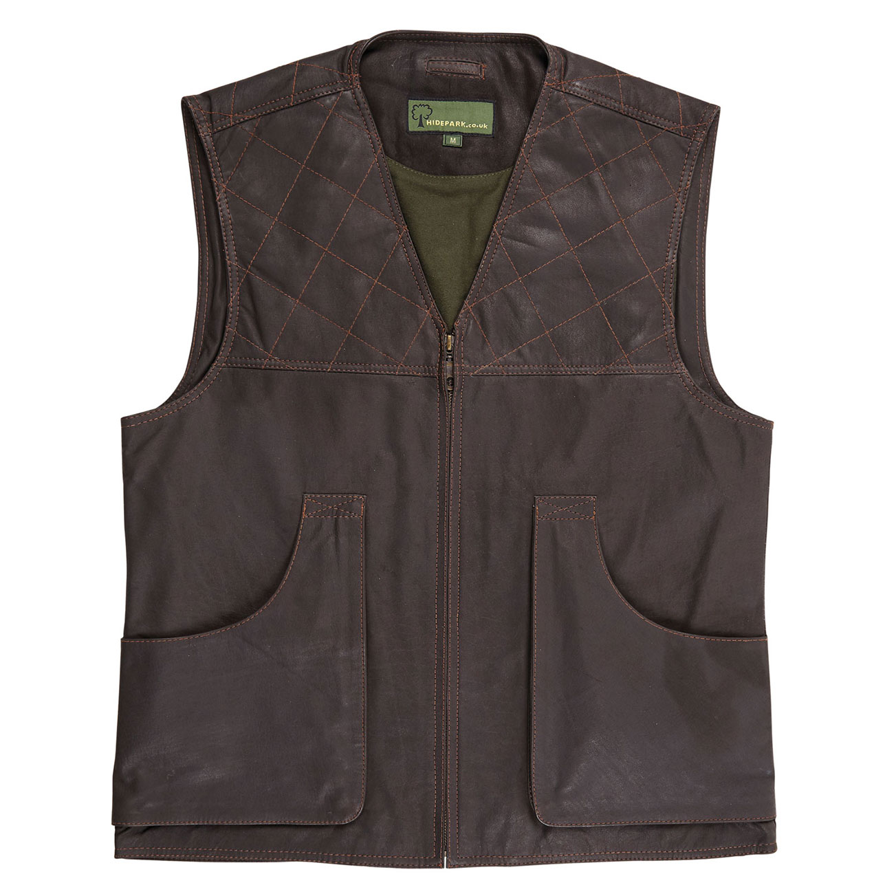 Mens Leather Shooting Vest G Brown
