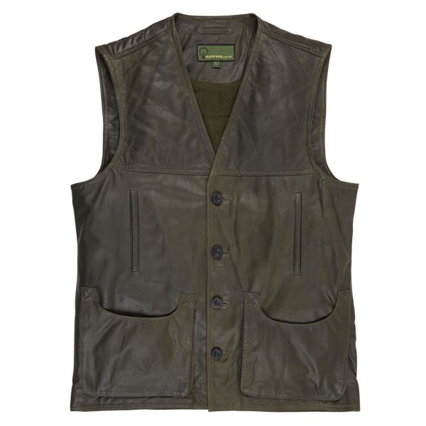 Mens-Leather-Shooting-Vest-Green-G010
