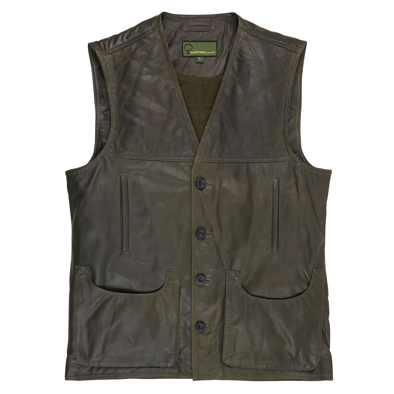 Mens Leather Shooting Vest Green G