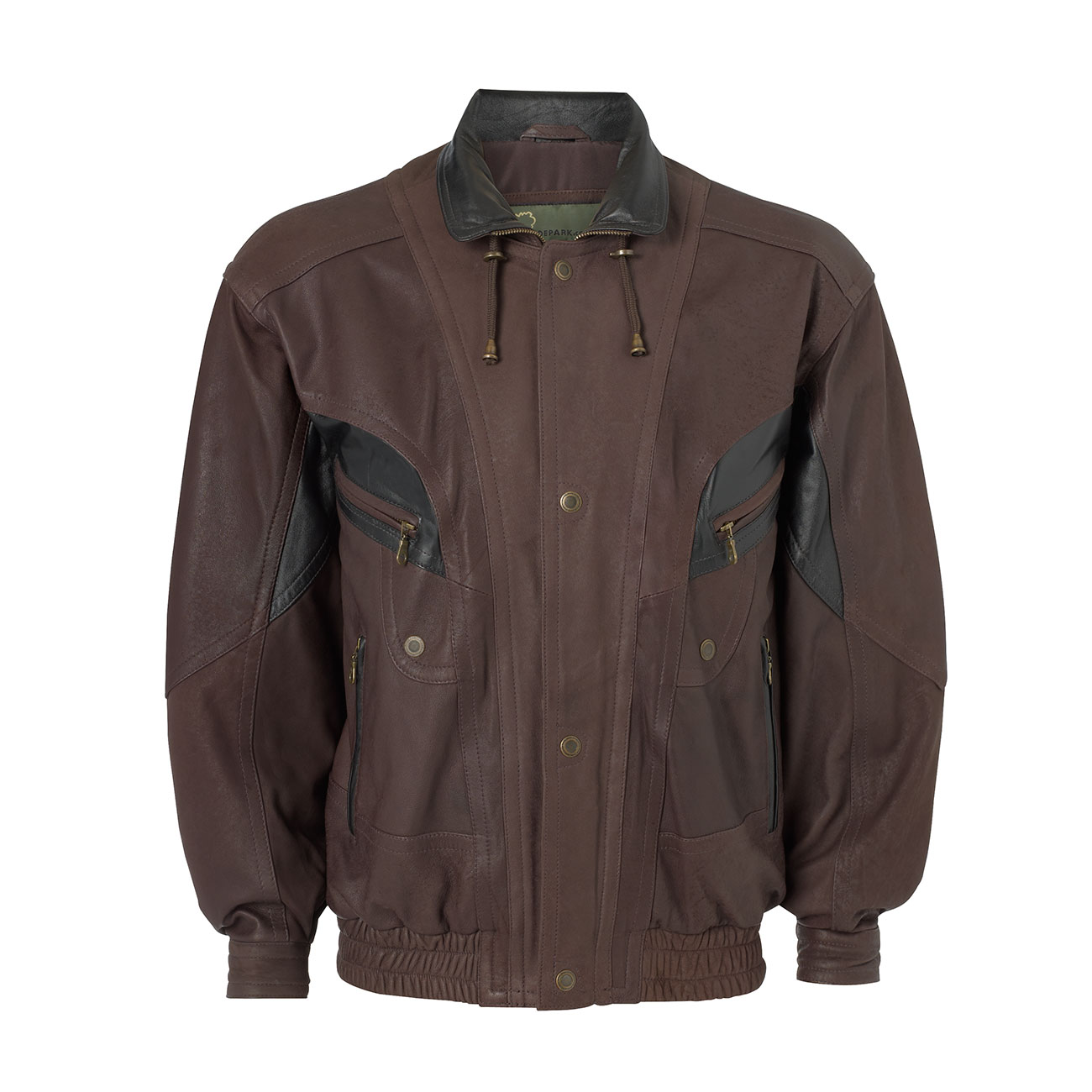 Mens Leather blouson style jacket Brown