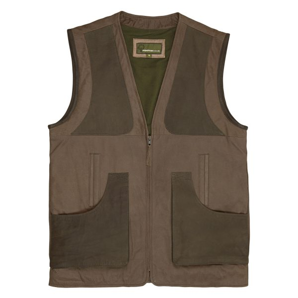 Mens Leather shooting vest Dark Brown with Zip Fasten 002