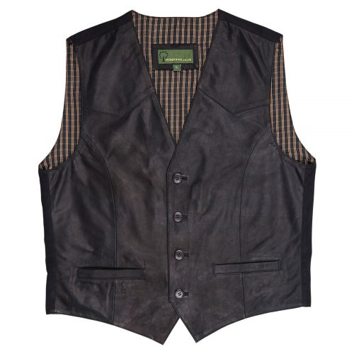 Mens Leather waistcoat Black