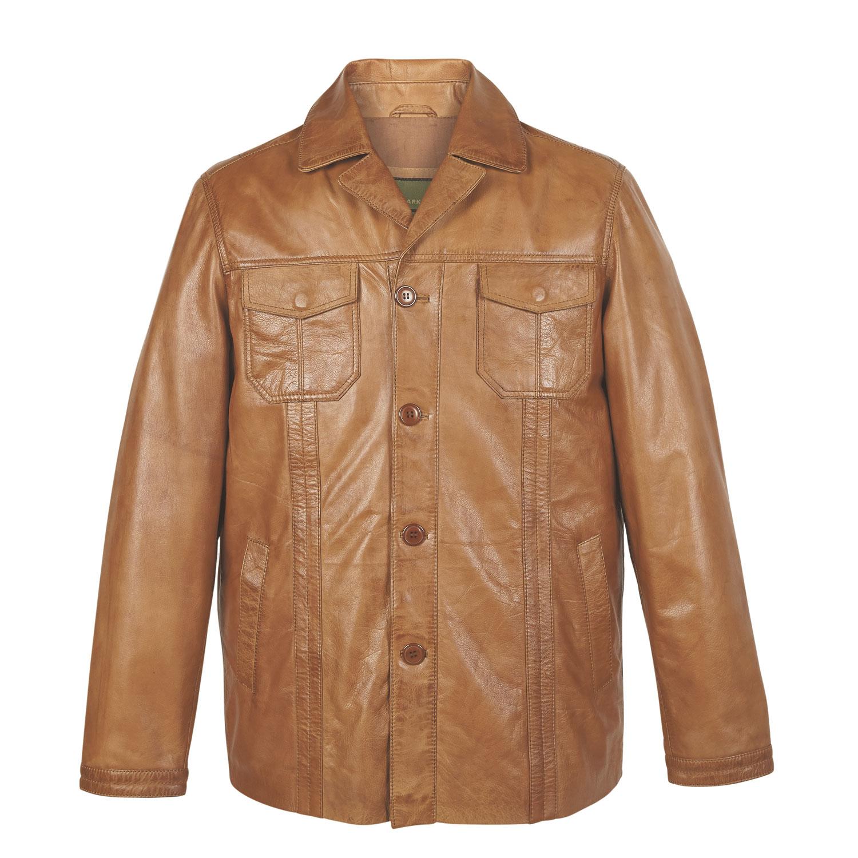 Mens Tan Leather Coat Adam