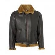 Mens leather sheepskin flying jacket Brown B
