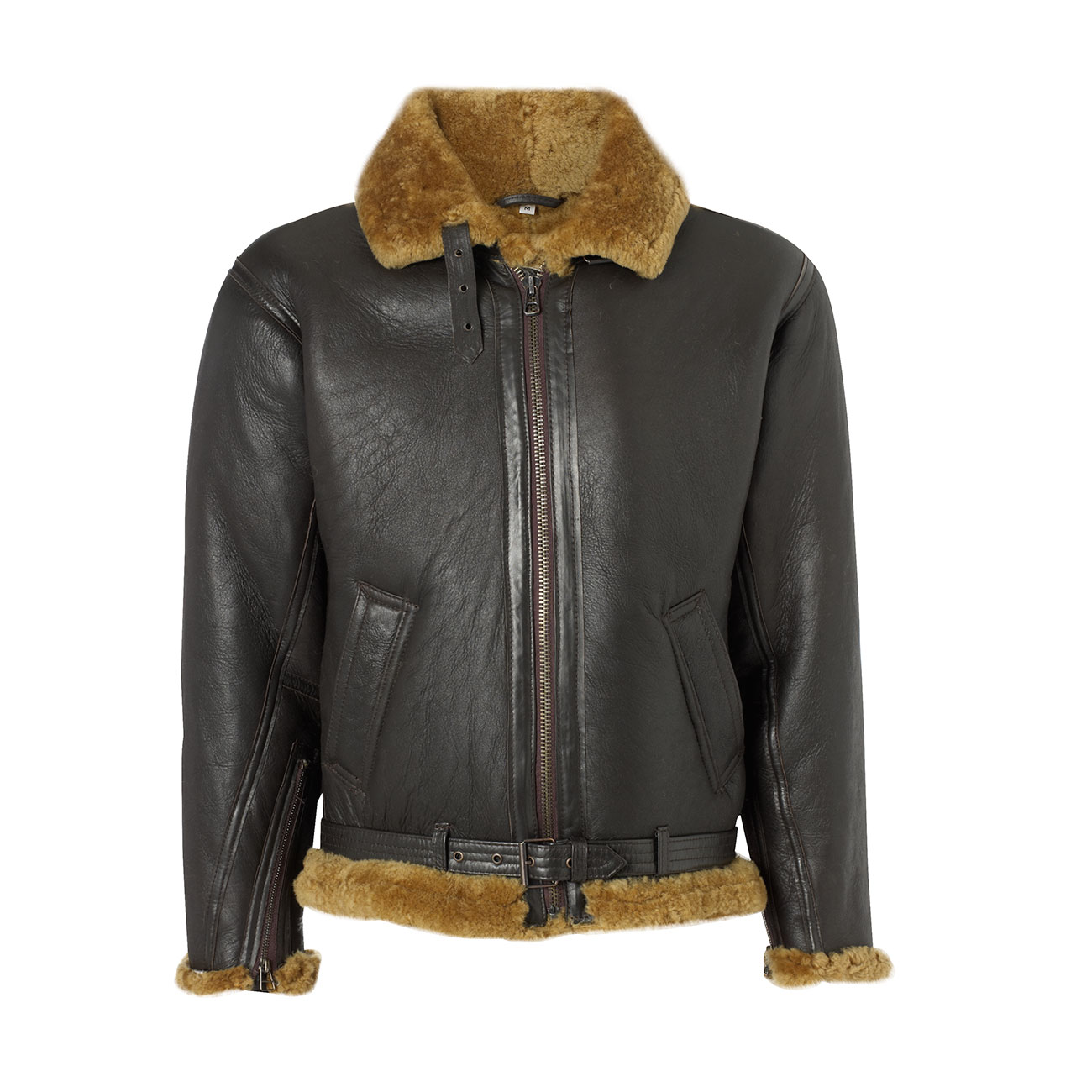 Mens leather sheepskin flying jacket Brown B