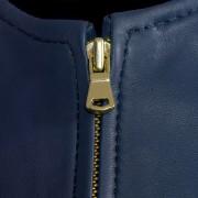 Sophie leather blue jacket zip detail