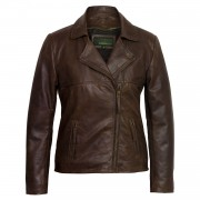 Womens Brown leather flying jacket Clara without collar