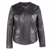Womens Collarless Leather Jacket Black Sophie