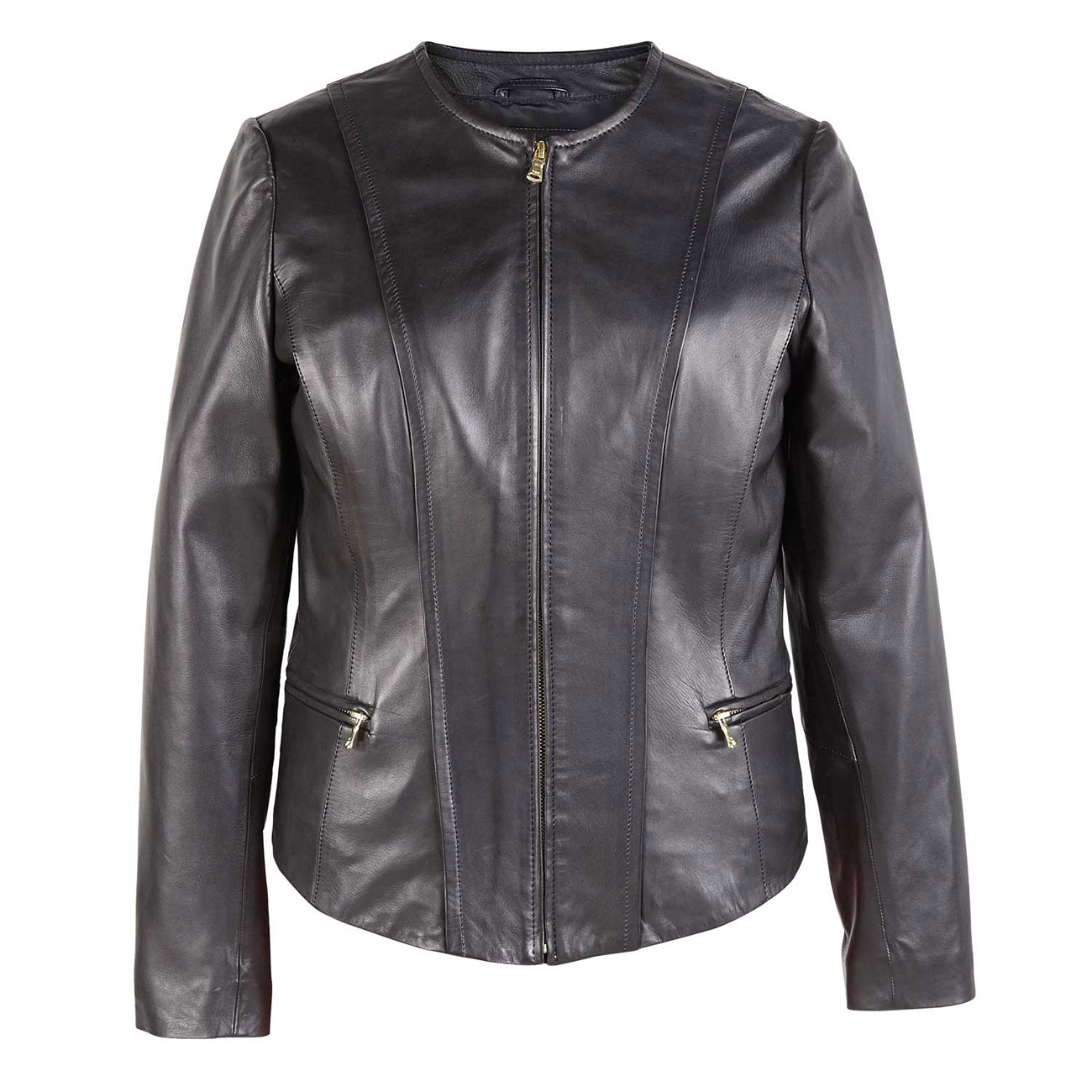 Awe Inspiring Sophie Womens Black Collarless Leather Jacket Camellatalisay Diy Chair Ideas Camellatalisaycom