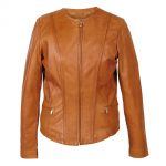 Women's Collarless Leather Jacket Tan: Sopie