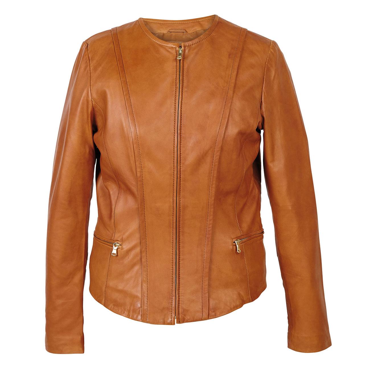 Women's Collarless Leather Jacket Tan: Sopie