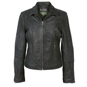 Womens Leather Biker Jacket Black Niki
