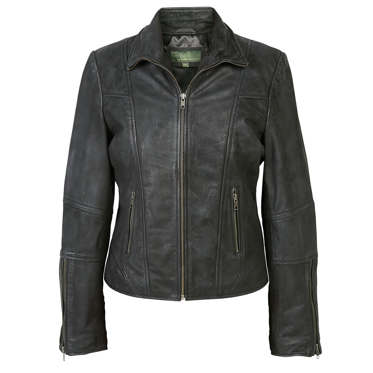 Womens Leather Biker Jacket Black Niki