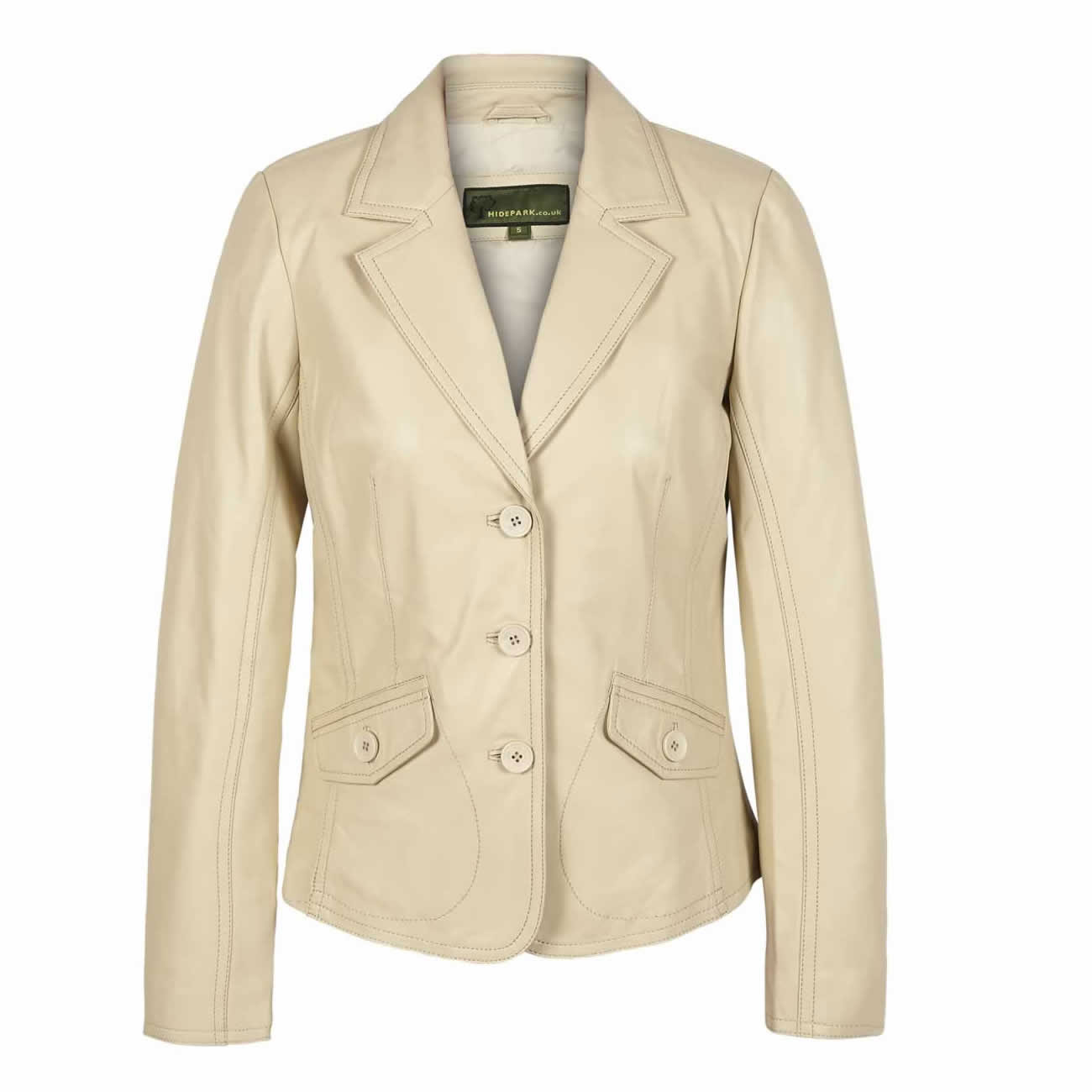 Womens Leather Blazer Cream Jess