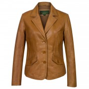 Women's Tan Leather Blazer: Jess