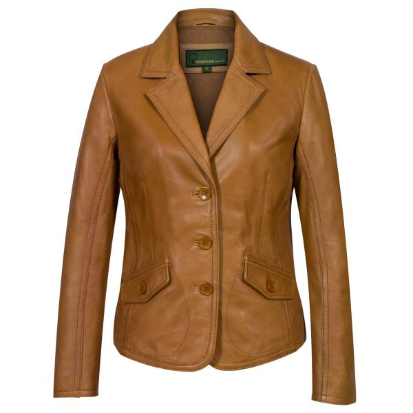 Womens Tan Leather Blazer Jess