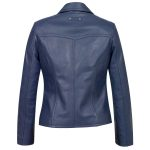 Womens blue leather blazer Jess Back