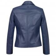 Womens blue leather blazer Jess Back