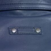 Womens blue leather blazer back collar detail Jess