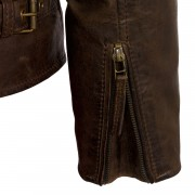 Womens brown leather flying jacket zsip cuff detail