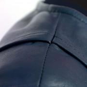 Womens sophie blue leather jacket shoulder detail