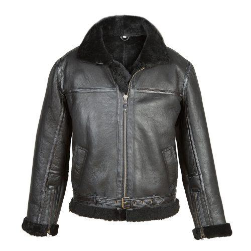 Men's Black Sheepskin Flying Jacket