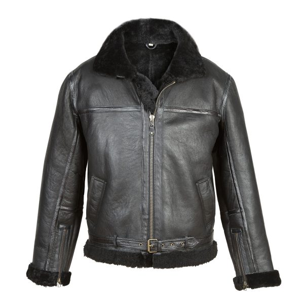 Gents Black Sheepskin Flying Jacket B4