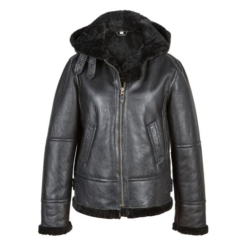 Ladies Black Sheepskin Flying Jacket Holly