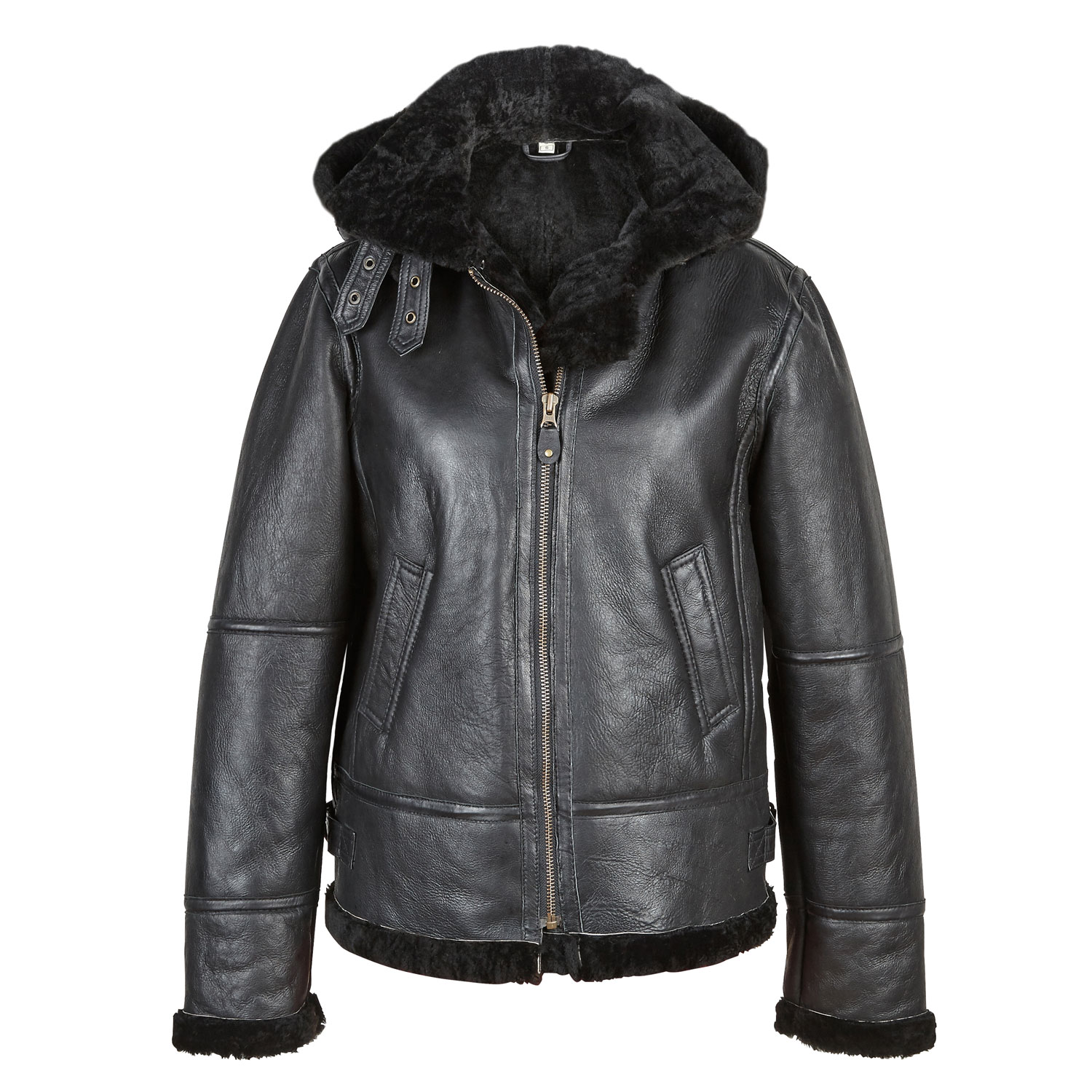 Womens Hooded Leather Jacket in off
