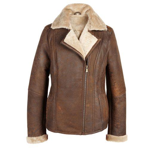 Ladies Brown Sheepskin Flying Jacket Wild Rust Ella