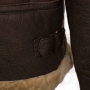 Ladies Holly sheepskin flying jacket Brown hem detail