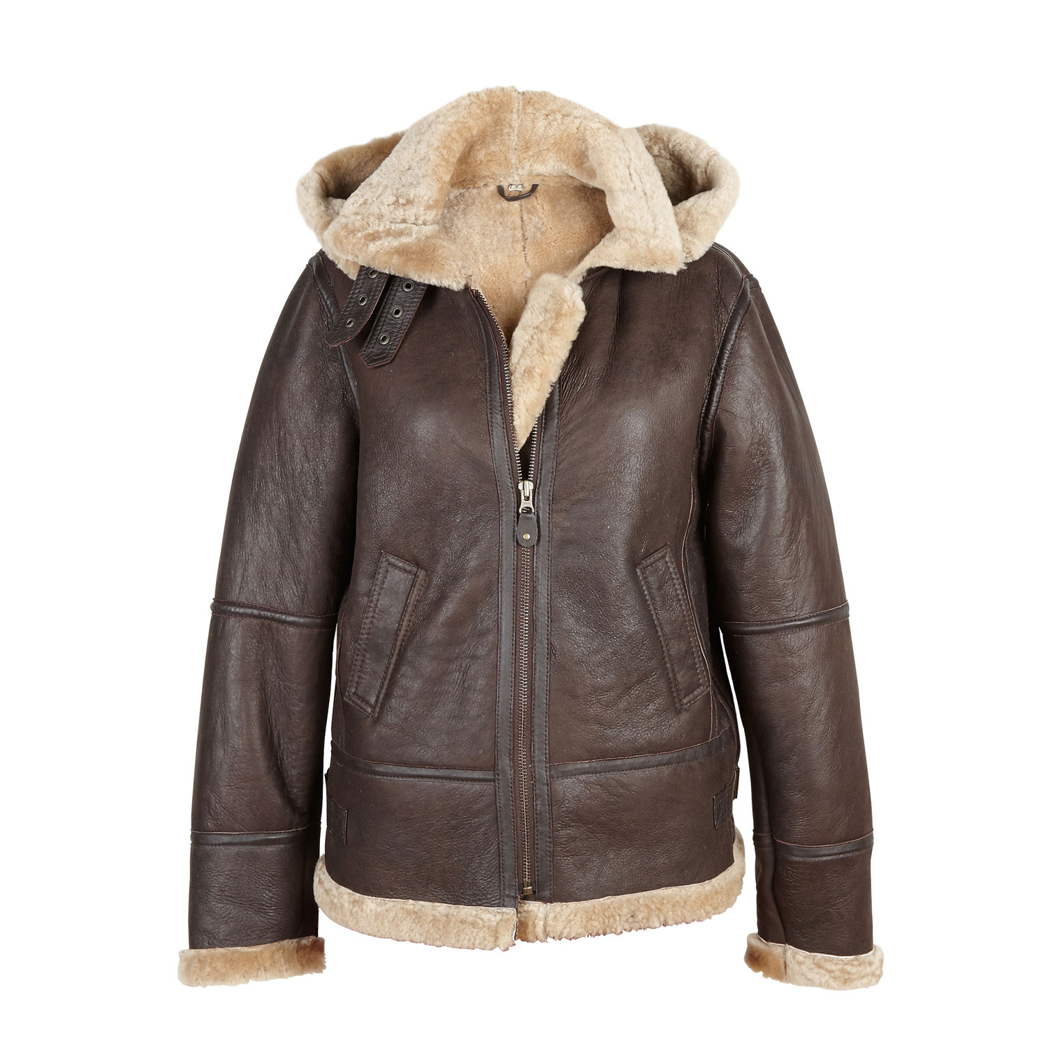 Ladies Leather Brown Sheepskin Flying Jacket Holly