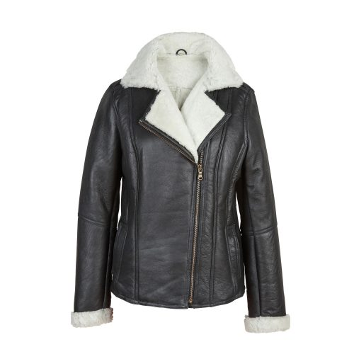 Womens Black/Cream Sheepskin Flying Jacket Ella