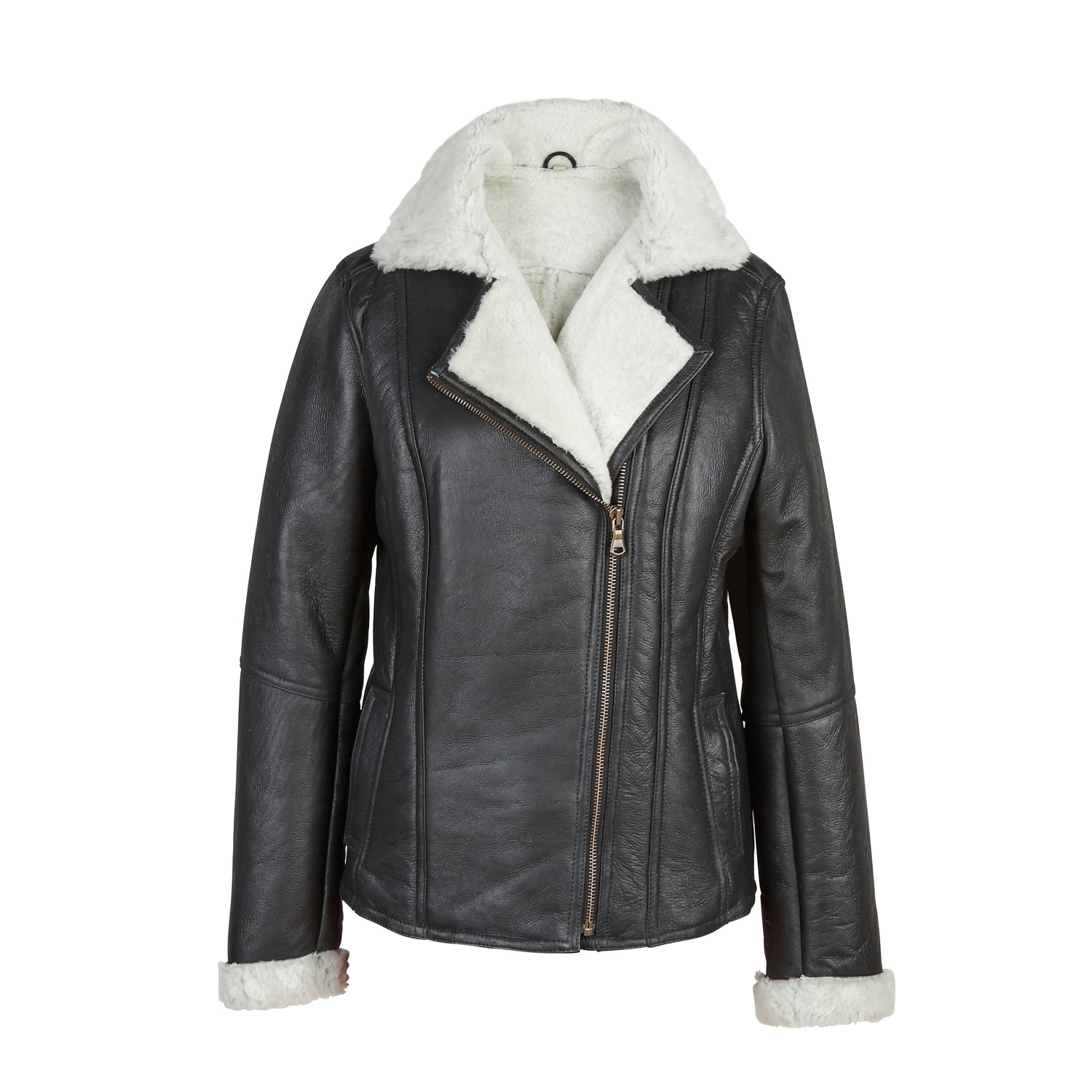 Womens Black/Cream Sheepskin Flying Jacket Ella
