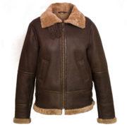 Womens Brown hooded sheepskin flying jacket Holly