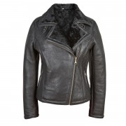 Womens Sheepskin Jacket Black Amy