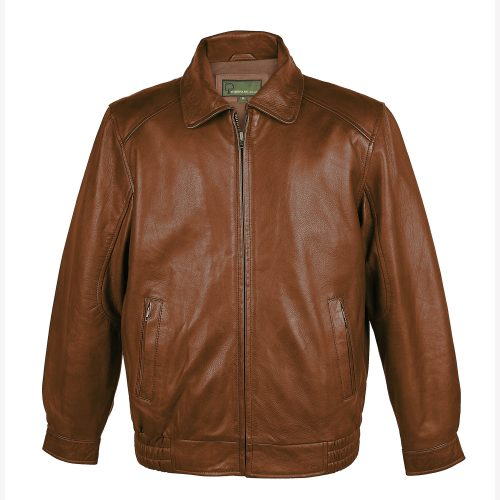 Men's Chestnut Leather Blouson Jacket: Will
