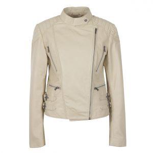 Ladies Cream Leather Biker Jacket Lisa