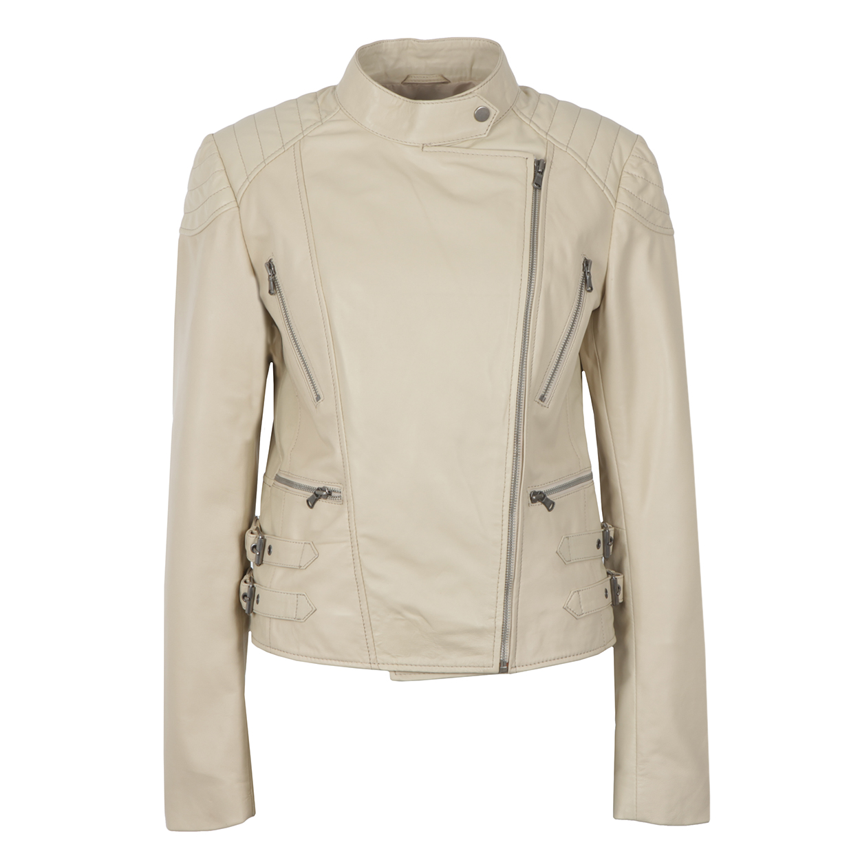 Ladies Cream Leather Biker Jacket Lisa