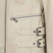 Ladies Cream Leather Biker Jacket side zip detail Lisa