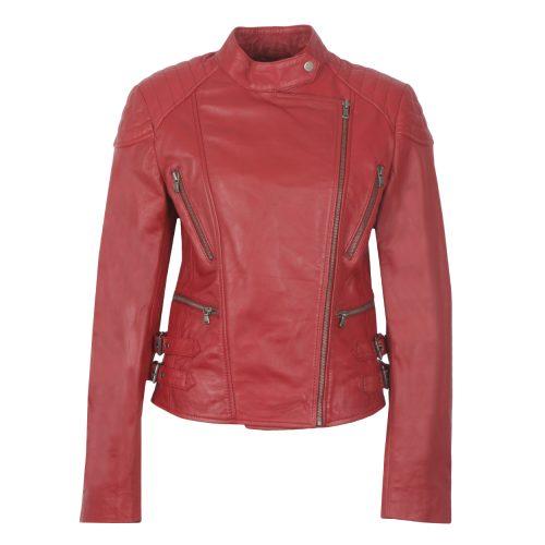 Ladies Red Leather Biker Jacket Lisa