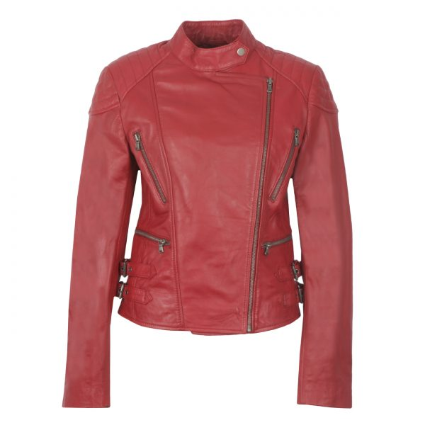 Ladies Red Leather Biker Jacket Lisa